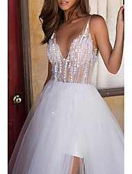 cheap -A-Line V Neck Asymmetrical Tulle Regular Straps Boho Wedding Dresses with Embroidery / Cascading Ruffles 2020