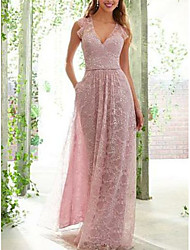 cheap -A-Line Plunging Neck Floor Length Lace / Satin Bridesmaid Dress with Ruching