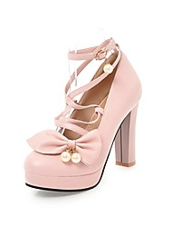 cheap -Women's Heels Chunky Heel Round Toe Bowknot / Imitation Pearl Faux Leather Casual / Sweet Walking Shoes Fall / Spring & Summer Black / White / Pink / Party & Evening