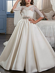 cheap -Ball Gown Floor Length Flower Girl Dress - Satin Half Sleeve Jewel Neck with Bow(s) / Buttons / Lace