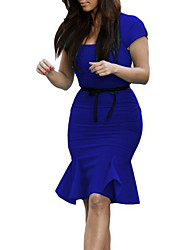 cheap -Women's Elegant Sheath Dress - Solid Colored Blue Green S M L XL