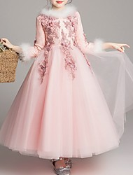 cheap -A-Line Ankle Length Pageant Flower Girl Dresses - Polyester 3/4 Length Sleeve Jewel Neck with Splicing