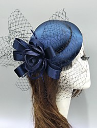 cheap -Feather / Fabric / Net Fascinators / Hats / Headwear with Satin Bow / Cap / Floral 1 Piece Wedding / Special Occasion Headpiece