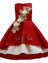 cheap -Kids Girls' Active Sweet Floral Patchwork Cut Out Patchwork Sleeveless Asymmetrical Dress Wine