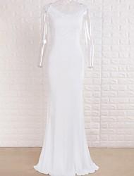 cheap -Sheath / Column V Neck Sweep / Brush Train Polyester Regular Straps Wedding Dresses with Lace 2020