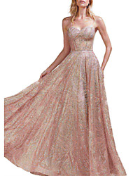 cheap -A-Line Sweetheart Neckline Floor Length Sequined Open Back Prom / Formal Evening Dress with Sequin / Pleats 2020