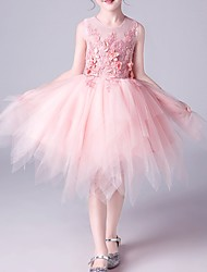 cheap -A-Line Knee Length Flower Girl Dress - Tulle Sleeveless Jewel Neck with Beading / Appliques