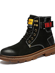 cheap -Men's Fashion Boots Leather / Pigskin Winter / Fall & Winter Casual Boots Walking Shoes Breathable Booties / Ankle Boots Black / Khaki
