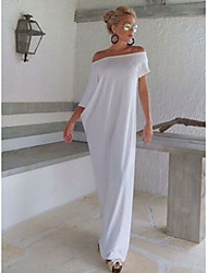 cheap -Women's Date Casual / Daily Basic Elegant Maxi Shift Dress - Solid Colored Patchwork Off Shoulder Black White S M L XL