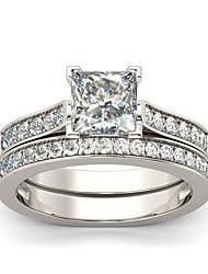 cheap -Women's Band Ring Ring Cubic Zirconia 2pcs Silver Silver Plated Stylish Luxury Fashion Wedding Engagement Jewelry