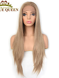 cheap -Synthetic Lace Front Wig Straight with Baby Hair Lace Front Wig Very Long Golden Blonde Synthetic Hair 22-26 inch Women's Cosplay Synthetic Easy dressing Blonde