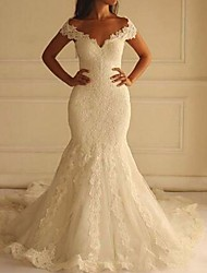 cheap -Mermaid / Trumpet Wedding Dresses Off Shoulder Court Train Lace Short Sleeve Sexy Illusion Detail Backless with 2020