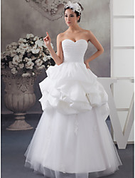 cheap -A-Line Wedding Dresses Sweetheart Neckline Floor Length Lace Satin Tulle Strapless with Pick Up Skirt Ruched Appliques 2020
