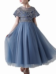 cheap -A-Line Ankle Length Pageant Flower Girl Dresses - Tulle Short Sleeve Jewel Neck with Beading / Embroidery