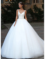 cheap -Ball Gown Wedding Dresses V Neck Court Train Lace Tulle Spaghetti Strap Country Illusion Detail Backless with Appliques 2020