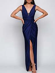cheap -Sheath / Column Elegant Formal Evening Dress Plunging Neck Sleeveless Floor Length Satin with Ruched Split Front 2020