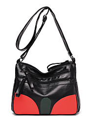 cheap -Women's Zipper Faux Leather / PU Crossbody Bag Color Block Black