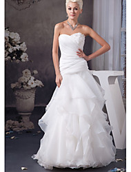 cheap -A-Line Wedding Dresses Sweetheart Neckline Floor Length Lace Organza Satin Strapless with Ruched Appliques Cascading Ruffles 2020