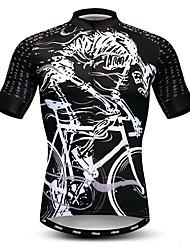 cheap -21Grams Men's Short Sleeve Cycling Jersey Black / White Skeleton Bike Jersey Top Mountain Bike MTB Road Bike Cycling Breathable Moisture Wicking Quick Dry Sports Polyester Elastane Terylene Clothing