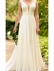 cheap -A-Line V Neck Sweep / Brush Train Charmeuse Spaghetti Strap Wedding Dresses with Draping 2020