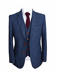 cheap -Blue herringbone wool custom suit
