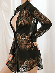 cheap -Women's Lace / Mesh Sexy Chemises & Gowns Nightwear Solid Colored Black White M L / Shirt Collar