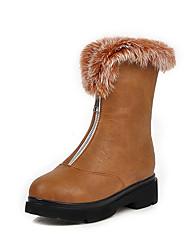 cheap -Women's Boots Low Heel Round Toe PU Mid-Calf Boots British / Preppy Fall & Winter Black / Brown / Beige