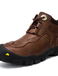 cheap -Men's Leather Shoes Cowhide Spring / Fall & Winter Sporty / Casual Athletic Shoes Hiking Shoes Waterproof Booties / Ankle Boots Black / Brown