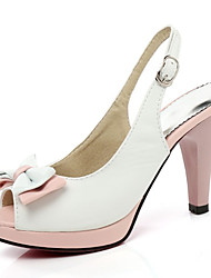cheap -Women's Sandals Stiletto Heel Peep Toe Bowknot / Buckle PU Summer White / Blue / Pink / Color Block