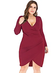 cheap -Women's Daily Wear Date Basic Sheath Dress - Solid Colored Patchwork Black Wine Navy Blue XL XXL XXXL XXXXL