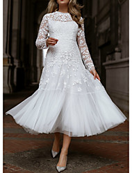 cheap -A-Line Illusion Neck Tea Length Lace / Tulle Floral / White Engagement / Cocktail Party Dress with Pleats / Appliques 2020
