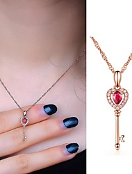 cheap -Fashion Charm Key Pendant Rose Gold Color Long Pendant Necklaces Sweater Necklace For Women Girl Gift