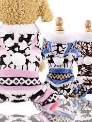cheap -Dog Cat Coat Pajamas Puffer / Down Jacket Winter Dog Clothes Blue Pink Coffee Costume Husky Corgi Beagle Flannel Fabric Geometric Casual / Daily Simple Style XS S M L XL XXL