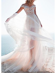 cheap -A-Line Jewel Neck Sweep / Brush Train Lace / Tulle Cap Sleeve Wedding Dresses with Beading / Appliques 2020
