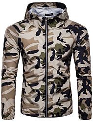 abordables -Homme Quotidien / Sports Basique / Militaire Printemps & Automne Normal Veste, camouflage Capuche Manches Longues Polyester Blanche / Vert Véronèse / Vert