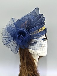 cheap -Feathers / Net Fascinators / Hats / Headwear with Bows / Cap / Floral 1 Piece Wedding / Special Occasion Headpiece