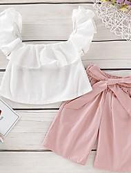 Недорогие -малыш Девочки Классический Однотонный С короткими рукавами Обычный Набор одежды Белый