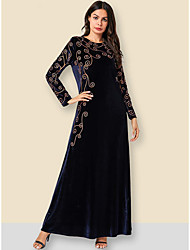 cheap -A-Line Mother of the Bride Dress Elegant & Luxurious Jewel Neck Ankle Length Velvet Long Sleeve with Embroidery 2020