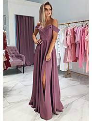 cheap -A-Line Off Shoulder Floor Length Jersey Furcal Prom / Formal Evening Dress with Split Front 2020