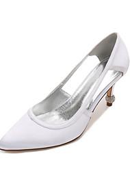 cheap -Women's Wedding Shoes Stiletto Heel Pointed Toe Satin Sweet / British Spring & Summer Black / White / Purple