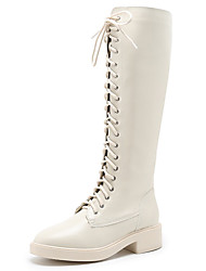cheap -Women's Boots Low Heel Round Toe Synthetics Knee High Boots Classic / Vintage Winter / Fall & Winter Black / Beige / Party & Evening
