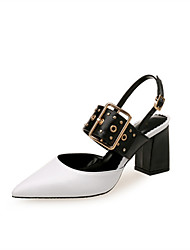 cheap -Women's Heels Chunky Heel Pointed Toe Rivet Faux Leather Classic / Minimalism Spring &  Fall / Spring & Summer Black / Dark Red / White / Party & Evening / Color Block