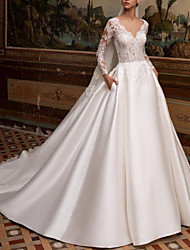cheap -A-Line V Neck Court Train Lace / Satin Long Sleeve Country Backless / Illusion Sleeve Wedding Dresses with Buttons / Lace Insert 2020