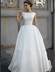 cheap -A-Line Wedding Dresses Bateau Neck Court Train Polyester Cap Sleeve with 2021