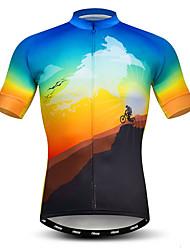 abordables -21Grams Homme Manches Courtes Maillot Velo Cyclisme Bleu + jaune. Nouveauté Cyclisme Maillot Hauts / Top VTT Vélo tout terrain Vélo Route Respirable Evacuation de l'humidité Séchage rapide Des sports