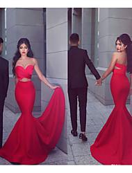 cheap -Mermaid / Trumpet Sweetheart Neckline Court Train Satin Sexy / Red Engagement / Formal Evening Dress with Criss Cross 2020