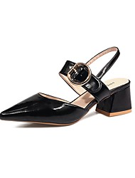cheap -Women's Heels Chunky Heel Pointed Toe Faux Leather / Patent Leather Casual / Minimalism Spring & Summer Black / Light Brown / Beige