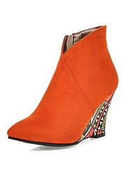 cheap -Women's Boots Wedge Heel Round Toe Suede Booties / Ankle Boots Fall & Winter Black / Purple / Orange