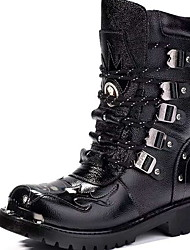 cheap -Men's Comfort Shoes PU Fall & Winter Boots Booties / Ankle Boots Black