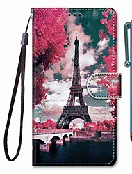 cheap -Case For Xiaomi Redmi Note 8 Pro / Redmi Note 8 / Redmi Note 7 Pro Wallet / Card Holder / with Stand Pink Flower Tower Bridge TPU for Redmi Note 7 / Mi CC9 / Mi CC9e / Redmi K20 / Redmi K20 Pro